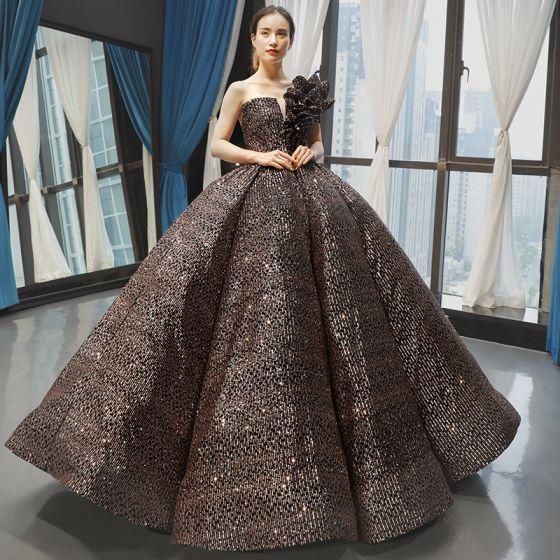 Brillante Negro Oro Lentejuelas Bailando Vestidos de gala 2020 Ball Gown Un Hombro Sin Mangas Largos Ruffle Sin Espalda Vestidos Formales