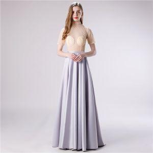 Illusion Grey Satin See-through Evening Dresses  2020 A-Line / Princess High Neck Short Sleeve Beading Sash Sweep Train Ruffle Formal Dresses