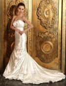 2015 Trumpet /Mermaid Sweetheart Beading Sash Ruffles Satin Wedding Dress