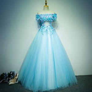 Asequible Hermoso Vestidos de gala 2017 Con Encaje Apliques Perla Fuera Del Hombro Manga Corta Sin Espalda Largos Azul Cielo Ball Gown