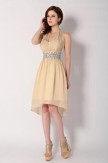 2015 Lovely Halter Sequins Sash Short Cocktail Dress