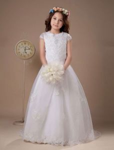 White Lace Satin Organza Flower Girl Dress