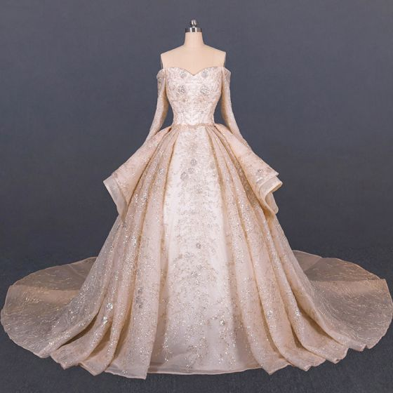 Luxury / Gorgeous Champagne Gold Bridal Wedding Dresses 2020 Ball Gown Off-The-Shoulder Long Sleeve Backless Handmade  Beading Sequins Glitter Tulle Cathedral Train Ruffle