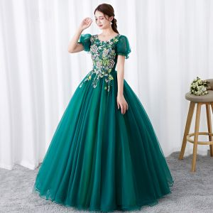 Chic / Beautiful Dark Green Prom Dresses 2019 Ball Gown Scoop Neck Rhinestone Lace Flower Short Sleeve Backless Floor-Length / Long Formal Dresses