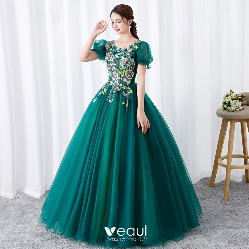 Chic / Beautiful Dark Green Prom Dresses 2019 Ball Gown Scoop Neck  Rhinestone Lace Flower Short Sleeve Backless Floor,Length / Long Formal  Dresses