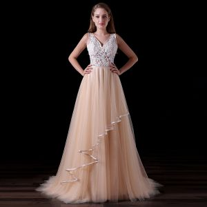 Chic / Beautiful Champagne Backless Wedding Dresses 2017 A-Line / Princess V-Neck Shoulders Sleeveless Beading Pearl Court Train