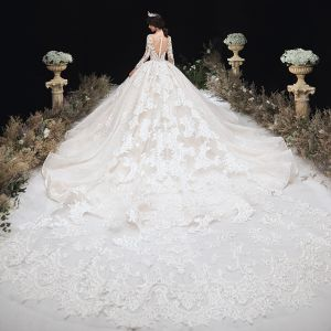 Luxury / Gorgeous Champagne See-through Wedding Dresses 2020 Ball Gown Scoop Neck 3/4 Sleeve Handmade  Beading Glitter Tulle Appliques Lace Royal Train Ruffle