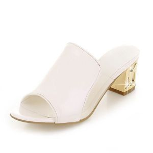 Chic White Sandals Leatherette/PU Low Heel Womens Shoes