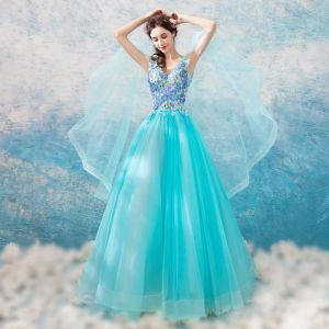 Chic / Beautiful Pool Blue Prom Dresses 2018 A-Line / Princess V-Neck Amazing / Unique Sleeveless Appliques Lace Floor-Length / Long Ruffle Backless Formal Dresses