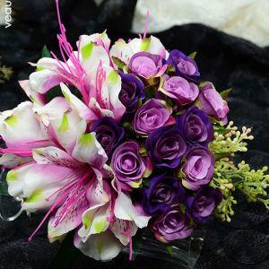 Simulation Artificielle Fleur En Soie Petite Fleur Rose Fille Bouquet De Mariée De Sayuri Tenant Des Fleurs Pour Le Mariage