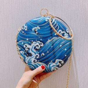 Amazing / Unique Sky Blue Printing Clutch Bags 2019 Accessories