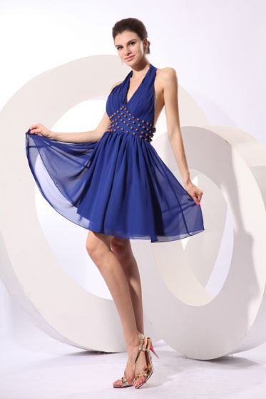 2015 Fascinating A-line Knee-length Royal Blue Cocktail Dress