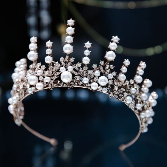 Vintage / Originale Baroque Bronze Accessoire Cheveux Mariage 2019 Métal Tiare Perle Faux Diamant Mariage Accessorize