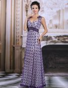 2015 Elegant Reich Schultern Lila Spitze Abendkleid Partykleid