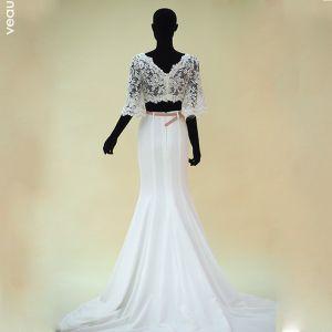 Schöne Weiß Brautkleider 2017 Mermaid V-Ausschnitt Charmeuse Mit Spitze Rückenfreies Durchbohrt Hochzeit