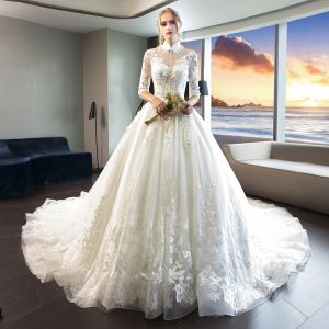 39a75e12c2cb Chinese style Ivory See-through Wedding Dresses 2019 A-Line / Princess High  Neck