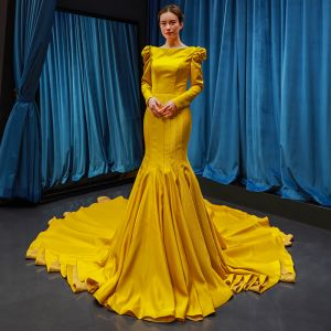Luxury / Gorgeous Yellow Satin Evening Dresses  2019 Trumpet / Mermaid Square Neckline Long Sleeve Chapel Train Ruffle Formal Dresses