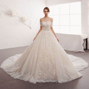 Classy Ivory Wedding Dresses 2019 A-Line / Princess Off-The-Shoulder Short Sleeve Backless Sequins Appliques Lace Glitter Tulle Cathedral Train Ruffle