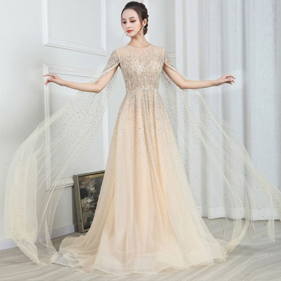 High-end Gold See-through Evening Dresses  2020 A-Line / Princess Scoop Neck Short Sleeve Beading Watteau Train Ruffle Formal Dresses