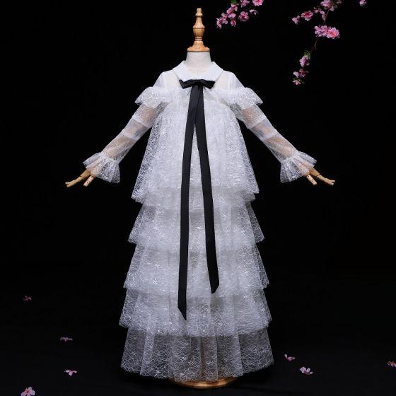 Amazing / Unique White Flower Girl Dresses 2017 A-Line / Princess Bow Lace Scoop Neck Long Sleeve Floor-Length / Long Wedding Party Dresses