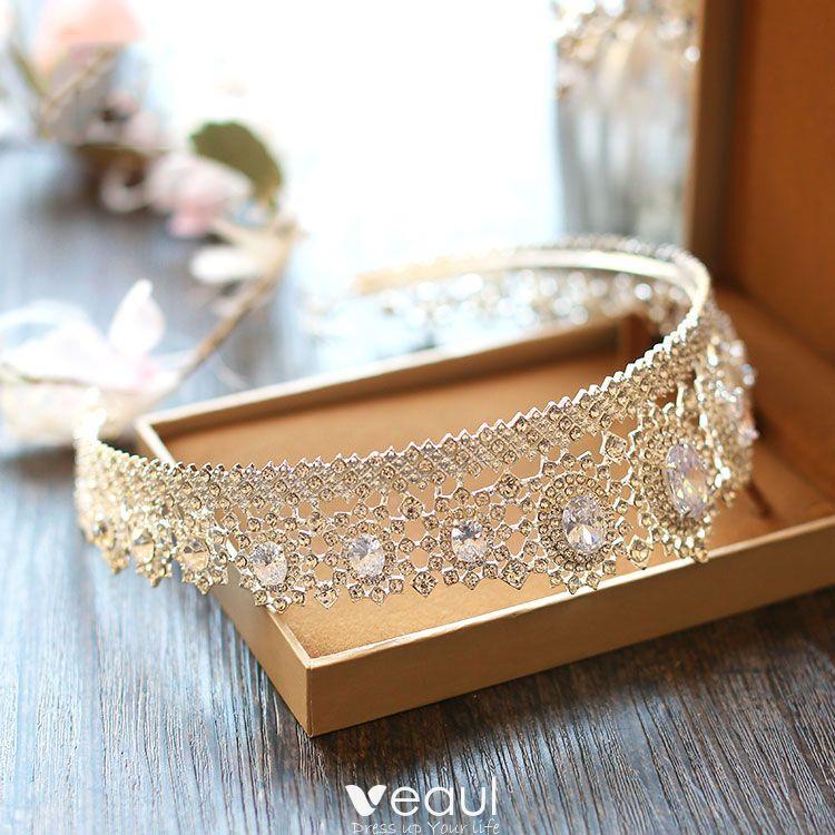 Sparkly Gold Metal Rhinestone Tiara 2017 Bridal Jewelry