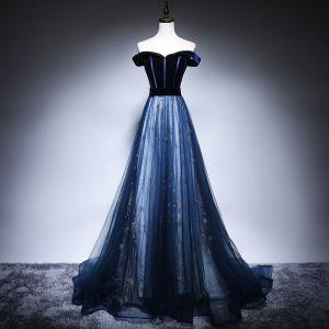 Chic / Belle Bleu Marine Robe De Soirée 2018 Princesse De l'épaule Manches Courtes Ceinture Étoile Perlage Train De Balayage Volants Dos Nu Robe De Ceremonie