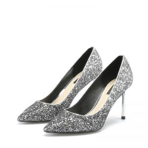 Sparkly Silver Leather Evening Party Pumps 2019 Sequins 8 cm Stiletto Heels Pointed Toe Pumps