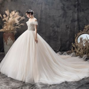 Charming Champagne Wedding Dresses 2019 Ball Gown Off-The-Shoulder Short Sleeve Backless Glitter Tulle Sequins Beading Cathedral Train Ruffle