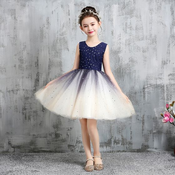Starry Sky Navy Blue Gradient-Color Flower Girl Dresses 2020 A-Line / Princess Scoop Neck Sleeveless Star Sequins Short Ruffle