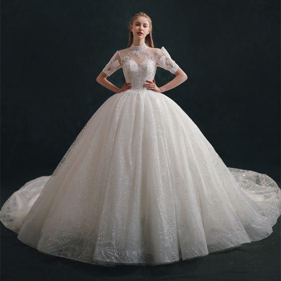 Luxury / Gorgeous Ivory Wedding Dresses 2021 Ball Gown High Neck Rhinestone Sequins Lace Flower Short Sleeve Backless Royal Train Wedding