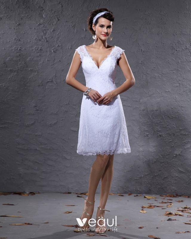 Elegant Satin Lace V Neck Knee Length Short Mini Wedding Dress