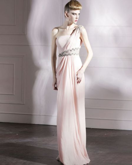 Cloth Charmeuse One Shoulder Neckline Bead Floor Length Evening Dress