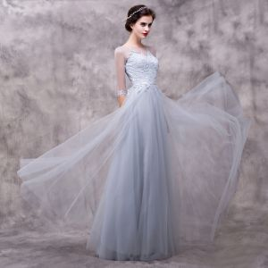 Chic / Beautiful Grey Evening Dresses  2018 A-Line / Princess Lace Flower Sash Scoop Neck Backless 3/4 Sleeve Floor-Length / Long Formal Dresses