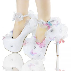 Schöne Weiß Brautschuhe 2018 Leder Schmetterling Blumen Strass 14 cm Stilettos Spitzschuh Hochzeit Pumps