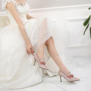 Brillante Bling Bling Rosa Clara Zapatos de novia 2019 Fiesta Noche Poliéster Rebordear Lentejuelas Zapatos De Mujer