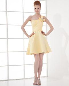 Fashion Satin Plissiert One Shoulder Oberschenkel Länge Abiballkleider / Abschlussballkleider