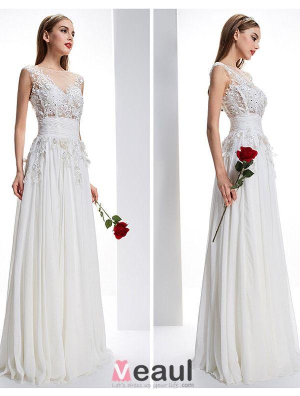 Exquisite A-line Square Neckline Pierced Lace Flowers Backless Chiffon Wedding Dress