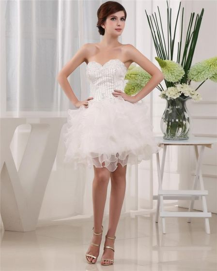 Sweetheart Sleeveless Zipper Mini Length Satin Organza Woman Homecoming Dresses
