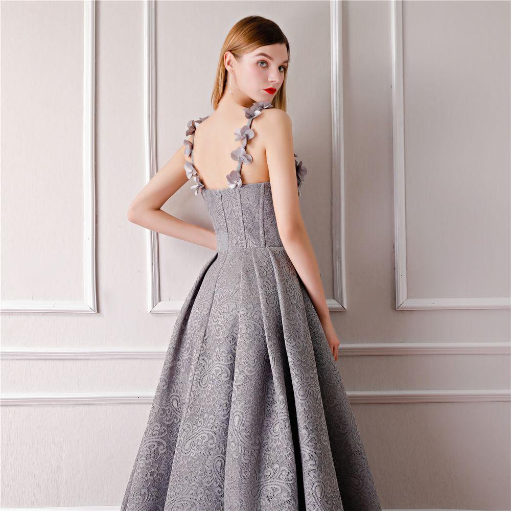 Mode Grau Abendkleider 2019 A Linie Ärmellos Schultern Blumen Strass Perle Lange Rüschen Rückenfreies Festliche Kleider