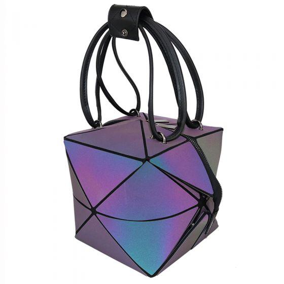 Unik Multi-Farver Sammenfoldelig Lysende Geometrisk Firkantede Håndtaske 2021 PU Reflekterende Holografisk Casual Dametasker