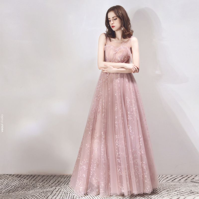 Classy Pearl Pink See-through Evening Dresses  2019 A-Line / Princess Scoop Neck Sleeveless Appliques Lace Beading Glitter Sequins Floor-Length / Long Ruffle Backless Formal Dresses