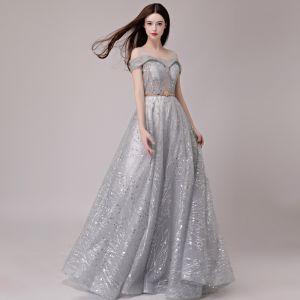 Elegantes Plata Vestidos de noche 2018 A-Line / Princess Glitter Lentejuelas Metal Cinturón Hombros Sin Mangas Largos Vestidos Formales