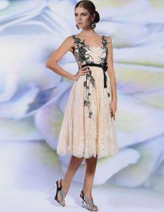 2015 Champagner Spitzen Applikationen Kurzen Cocktailkleid Partykleid