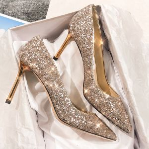 Sparkly Gold Leather Wedding Shoes 2020 Sequins 9 cm Stiletto Heels Pointed Toe Pumps
