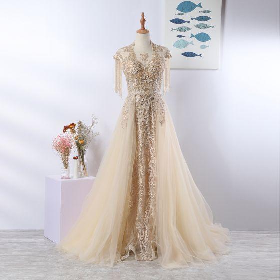 Luxury / Gorgeous Elegant Beige Handmade  Evening Dresses  2020 A-Line / Princess U-Neck Beading Tassel Crystal Rhinestone Lace Flower Sleeveless Backless Sweep Train Formal Dresses