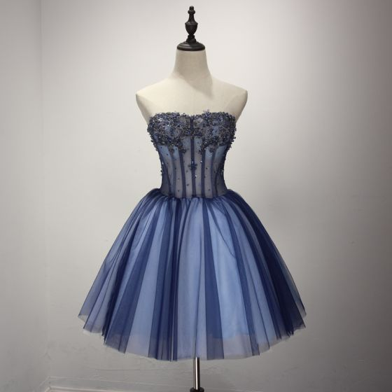 c0c0147e25b Modern   Fashion Navy Blue Cocktail Dresses 2017 Cascading Ruffles Short  Ball Gown Strapless Sleeveless Backless Beading ...