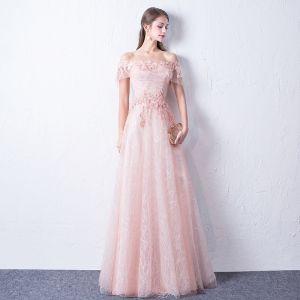 Bling Bling Rougissant Rose Robe De Soirée 2018 Princesse De l'épaule Manches Courtes Appliques En Dentelle Glitter Paillettes Longue Volants Dos Nu Robe De Ceremonie