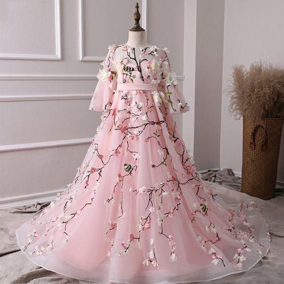Hada de las flores Rosa Transparentes Vestidos para niñas 2019 A-Line / Princess Scoop Escote Mangas de campana Cinturón Bordado Apliques Flor Colas De Barrido Ruffle Vestidos para bodas