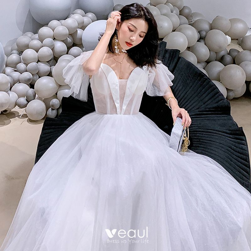 Affordable White Organza See-through Evening Dresses  2019 A-Line / Princess Spaghetti Straps Floor-Length / Long Ruffle Backless Formal Dresses