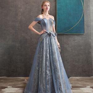 Elegante Meeresblau Abendkleider 2020 A Linie Off Shoulder Kurze Ärmel Perlenstickerei Glanz Tülle Lange Rüschen Rückenfreies Festliche Kleider